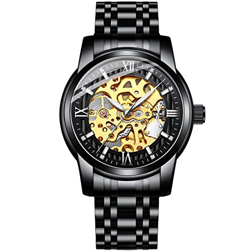 Mens Mechanical Wrist Watches Classic Skeleton Automatic Watch for Men Waterproof Stainless Steel Rome Number Clock, Self Wind, Steampunk Dial Design (Full Black 8823)