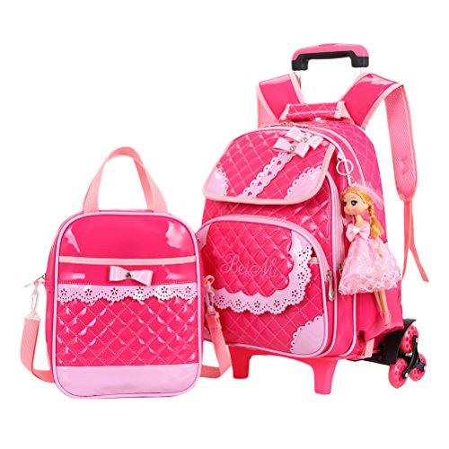 Zhhlinyuan Grundschule Fahrbar Rucksack Wasserdicht Tagesrucksack Reisetaschen für Kinder Studenten Wheeled School Bag