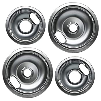 Pulluty Range Drip Pans 6  W10196406 and 8  W10196405 Set Compatible with Whirlpool W10278125 W10196405 W10196406 (4 PACK)