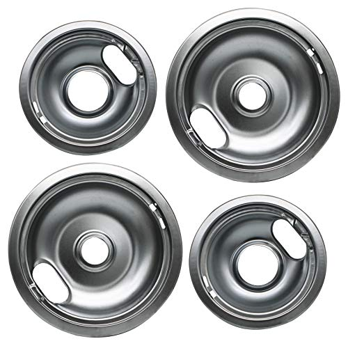 "Pulluty Range Drip Pans 6"" W10196406 and 8"" W10196405 Set Compatible with Whirlpool W10278125 W10196405 W10196406 (4 PACK)"