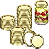 24 Pack Regular Canning Jar Lids and Rings for Regular Mouth Mason Jars, Split-Type Jar Lids and Bands Leak Proof Storage Stainless Can Covers Caps with Silicone Seals (Gold)