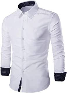 Men's Shirt Basic Slim Fit Long Sleeve Shirts Leisure Business Work Shirt Elegant Kent Collar Classic Shirt Fashion Weddin...
