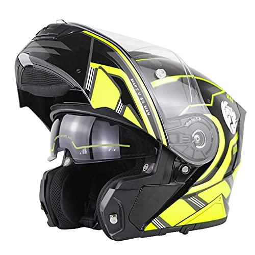 Casco De Moto Modular Integral Con Doble Visera Casco Para Motocicleta De Scooter Casco Integral De Moto Abatible Modular Homologado ECE DOT Para Mujeres Hombres Adultos E,4XL