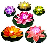 Floating Pool Lights,LED Lily Pad Pond Light Floating Flower Lotus ,Artificial Flower Floating Plant Light For Pool At Night,Battery MultiColor Pool Candles Waterproof,Garden Swimming Pond Decor 6PCS
