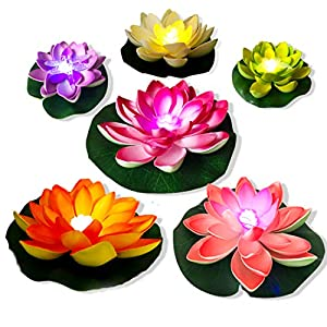 LED Floating Lotus Light Waterproof,6PCS Multicolor-Changing Light Battery Powered Lily Flower, Artificial Flower Night Lamp, Ponds Pool Garden Fish Tank Wedding Party Decoration Creative Gift