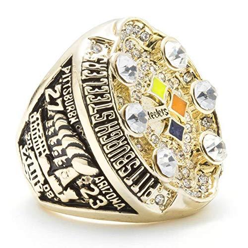 Fei Fei AnillosCampeón del Anillo, NFL 2008 Pittsburgh Steelers Championship Ring Réplica Regalo Anillo de Campeonato para Aficionados Medida de Anillo de 9-13 Memorial colector,9