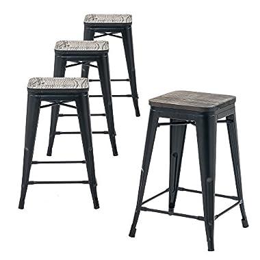 Buschman Store Wooden Seat, Counter Height Metal Bar Stools, Indoor/Outdoor, Stackable, 24  H, Matte Black, Set of 4