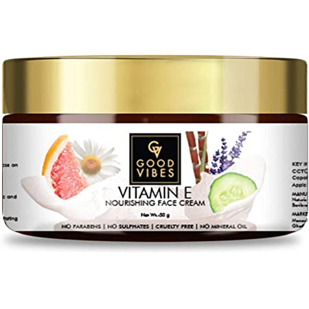 Good Vibes Vitamin E Nourishing Face Cream, 50 g Deep Moisturization Hydration For All Skin Types, Skin Soothing & Protecting Formula, Natural, No Parabens & Sulphates, No Animal Testing