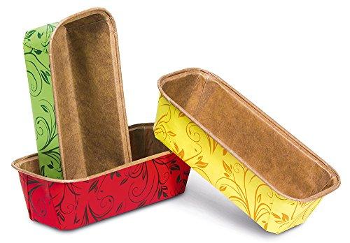 Guardini Monouso, 3 stampi plumcake 16x5,5cm, carta da forno, Colori assortiti