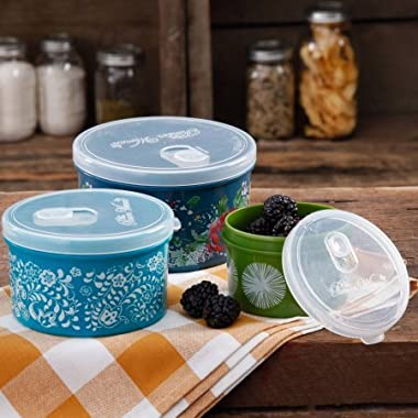The Pioneer Woman Round Food Storage with Vent Container Set, Set of 3 in Country Garden
