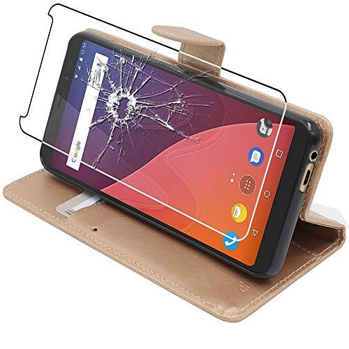 ebestStar - kompatibel mit Wiko View Hülle View 16GB 32GB Kunstleder Wallet Hülle Handyhülle [PU Leder], Kartenfächern Standfunktion, Gold + Panzerglas Schutzfolie [Phone: 151.5 x 73.1 x 8.7mm, 5.7'']