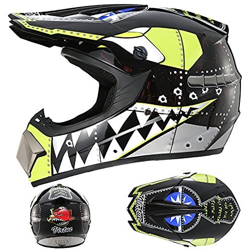LIALIYA Juego de casco de motocross, para adultos, para quad, bicicletas, BMX, ATV, todoterreno, casco de motomotocross, juego de casco de moto para adultos, 4, XL