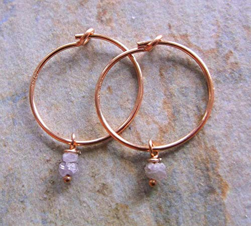 Pink Rough Cut Diamond Drops on 14K Rose Gold Hoop Earrings, Gifts for her, Gifts for friends.