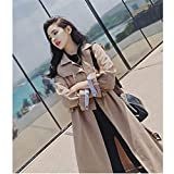 DAIDAILYQ - Abrigo largo para mujer, con cinturón, cuello invertido, largo