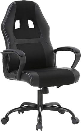 BestOffice Office Chair PC Gaming Chair Cheap Desk Chair Ergonomic PU Leather Executive Computer Chair Lumbar Support for Women, Men(Black)