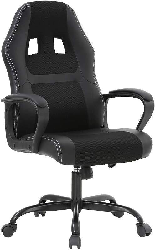 BestOffice Office Chair PC Gaming Chair Cheap Desk Chair Ergonomic PU Leather Executive Computer Chair Lumbar Support For Women Men Black