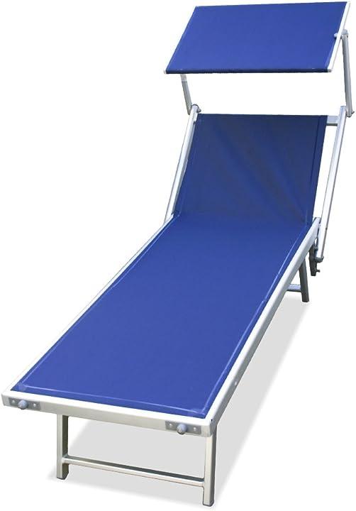 Lettino mare stabilimento spiaggia in alluminio,viti inox 180x61xh40 sdraio (blu) sal mar M0566