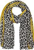 styleBREAKER chal de mujer con motivo de leopardo, coloridas rayas y flecos, chal de invierno, estola, pañuelo 01017082, color:Gris-amarillo