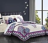 Chic Home 5 Piece Mazal Comforter Set, Queen, Purple