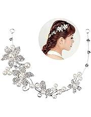 Tinksky, diadema da matrimonio, tiara da sposa, cerchietto per damigelle, coroncina con decorazioni in cristallo, perle e strass