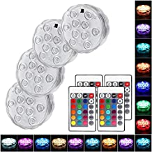 4 Pack Submersible LED Light, Oaksam Waterproof LED Pool Lights with Remote Controller,  16 Colors Led Lights Battery Operated for Vase Aquarium Pond Halloween Decoration.