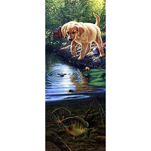Kit de pintura de diamante 5D por números, taladro completo, redondo, 30X60 CM, cachorro jugando en el agua, arte de diamantes, diamantes de imitación de cristal, kits