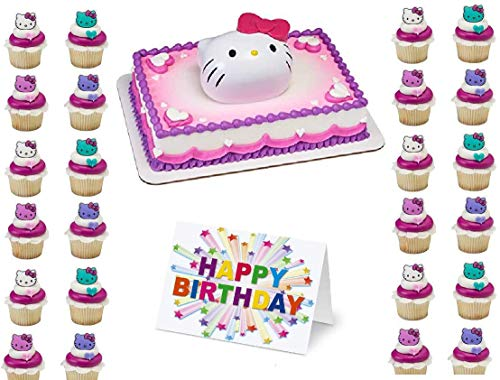 Hello Kitty Cake Topper Set Cupcake 24 Pieces Birthday Supplies Favors Goodies Plus Birthday Card - 26 Pieces
