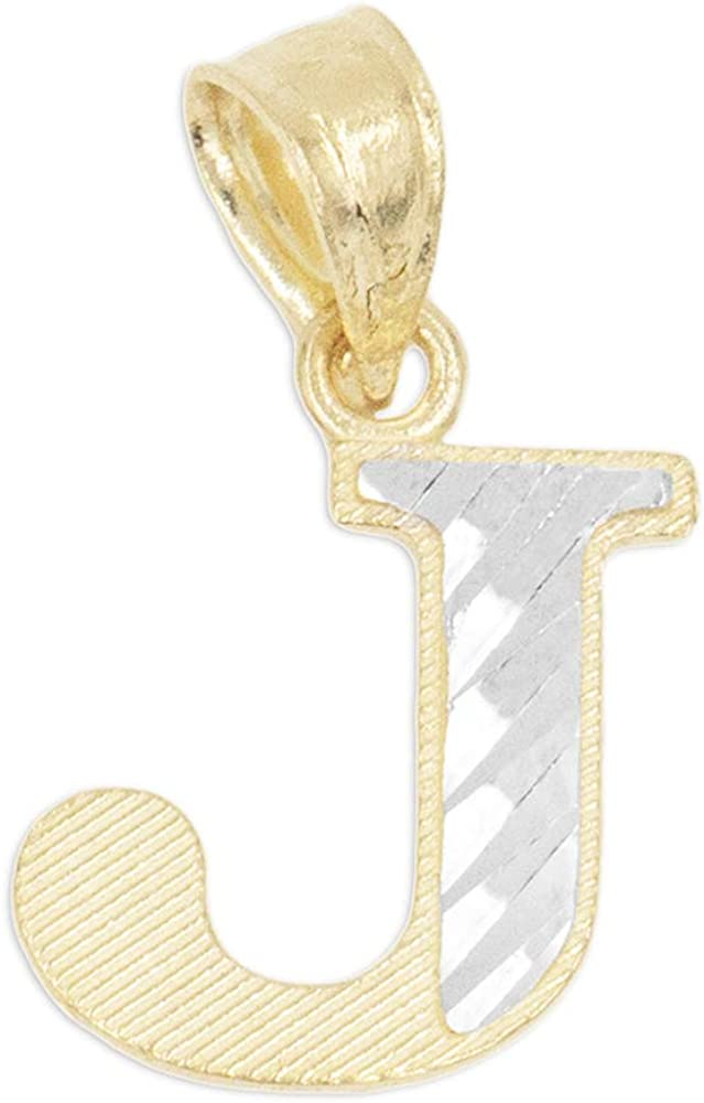 store 10k Real Atlanta Mall Solid Gold Two Tone Initial Pendant Cut Diamond with Fi