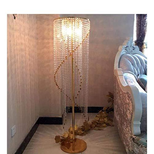 Lámpara de pie Modern K9 Luxury Led Crystal Gota de Lluvia Estilo Europeo Sala de Estar Dormitorio Personalidad Luz de Piso (Color: Gold)