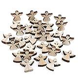 Logbuch Verlag 28 Mini Ángel de madera natural 4 cm Vintage decoración decoración de ángel de la guarda pequeñas figuras para esparcir artículos para esparcir joyas