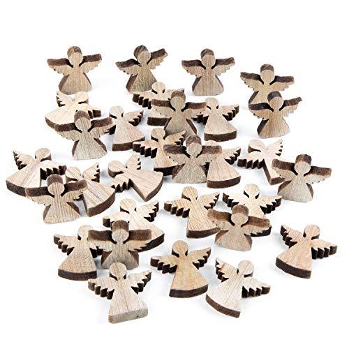 Logbuch-Verlag 28 Mini Engel aus Holz Natur 4 cm Vintage Streudeko Schutzengel kleine Figuren zum Streuen Streuartikel Streudeko Streuteile Geschenk
