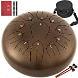Happybuy Steel Tongue Drum 11 Notes 10 Inches Dia Lotus type Tongue Drum Golden Handpan Drum Notes Percussion Instrument Steel Drums Instruments with Bag, Music Book, Mallets,Mallet Bracket