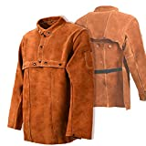 Leaseek Leather Welding Jacket - Heavy Duty Welding Apron with Sleeve (Medium)