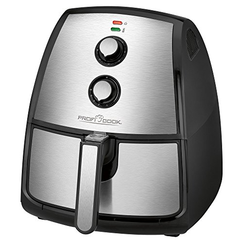 ProfiCook PC-FR 1115 H Edelstahl-Heißluft-Fritteuse 3,5 L Fassungsvermögen, stufenlos regelbarer Thermostat, Timer, 1500 W