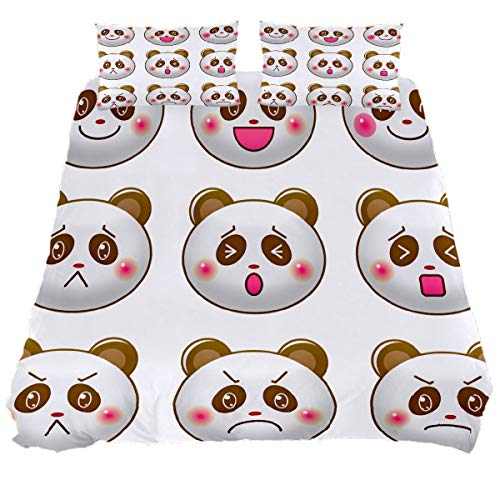 N\O Kawaii Panda Face Emotions Bedding Sets Breathable Bedclothes 3 Pieces Bedding Duvet Cover Sets (1 Duvet Cover + 2 Pillowcases) Room Decor Ultra Soft Microfiber(NO Comforter Included)