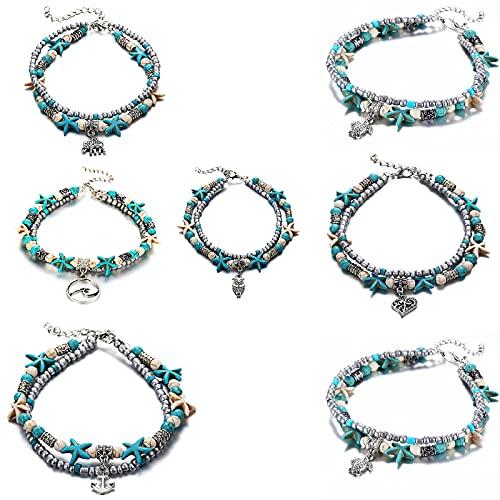 Bracelet Starfish Turquoise Beads Sea Turtle Anklet Beach Sandal Ankle Deco, Handmade Boho Hawaiian Beach Seashell Jewelry for Girls. (Seven)