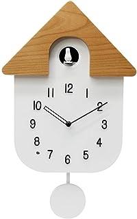 RANRANJJ Moderno Reloj de Cuco Cuco de Llamadas, Diseño de Reloj de péndulo, Simple Simple casero de la Manera Reloj de Pared de luz Cuco Sentado Colgando de Doble Uso del Reloj (Color : White)