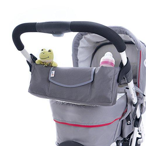 DIAGO 30110.75370 Universal Kinderwagen Organizer grau | einfache und stabile Befestigung | Klettverschluss mit Anti-Rutsch Beschichtung | Öffnen und Schließen mit Magnetverschluss | Smartphone-Fach