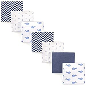 crib bedding and baby bedding hudson baby unisex baby cotton flannel receiving blankets bundle, blue whale, one size