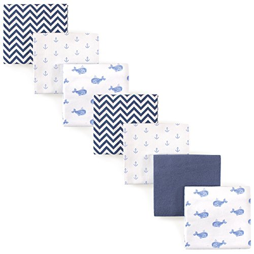 Hudson Baby Unisex Baby Cotton Flannel Receiving Blankets Bundle, Blue Whale, One Size
