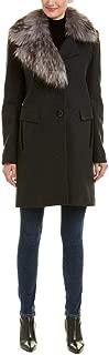 Womens Asymmetrical Faux Fur Walker Coat