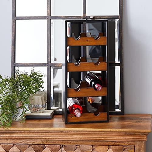 Deco 79 Wine Rack Portabottiglie per Vino, Holz, Nero, 10'L x 7' W x 23' H