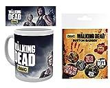 1art1 The Walking Dead, Carol and Daryl Taza Foto (9x8 cm) Y 1 The Walking Dead, Set De Chapas (15x10 cm)