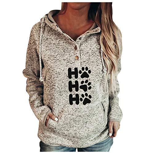 Masrin Mask Frauen Kapuze Sweatshirt Mode Brief Hund Pfote Druck Pullover Knopf Kragen Taschen Kordelzug Verdicken Warm Top Bluse (M,Beige)