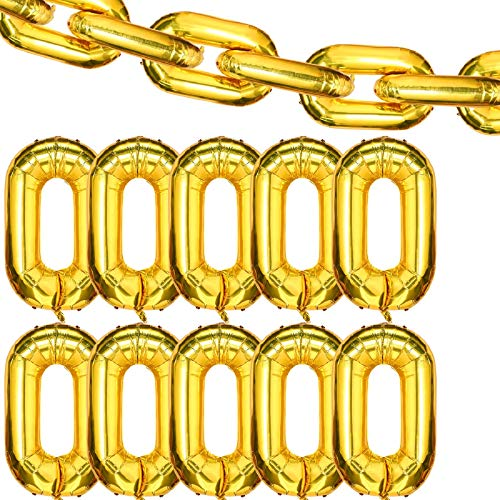 24 Pieces 16 inch Foil Chain Balloons Jumbo Chain Balloons for 80s 90s Hip Hop Retro Theme Birthdays Weddings Graduations Arch Supplies (Gold)