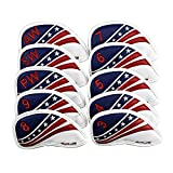 SAPLIZE 10PCS Golf Iron Head Covers Set Synthetic Leather US Flag Golf Club Head Cover Wedge Iron Protective Headcover