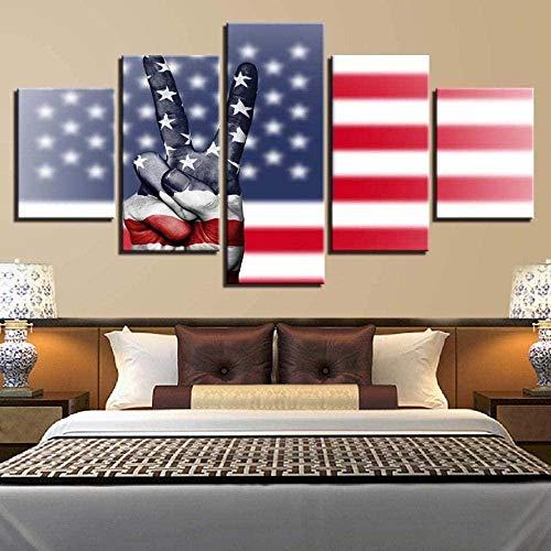 wandkunst leinwand hd gedruckt bilder 5 teile amerikanische flagge & sieg handgeste malerei für wohnzimmer dekor modularer rahmen 25x40cmx2P, 20x50cmx2P, 20x60cmx1P (rahmenlos)