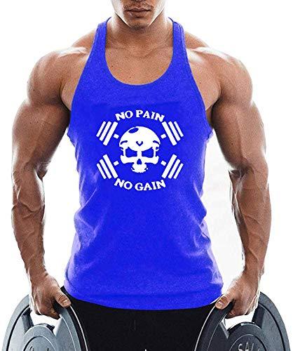 TX Apparel Canotta da Uomo Skull Teschio Fitness Stringer Teschio Uomo Gym Senza Maniche Shirt Blu M