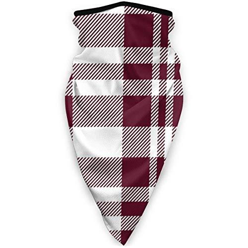 KKs-Shop Hygge Christmas Plaid Pattern Weiß und Rot Bordeaux Unisex Variety Schal Wickel Kopftuch Kopfbedeckung Hals Gamaschen Kopftuch Gesicht SFK-489
