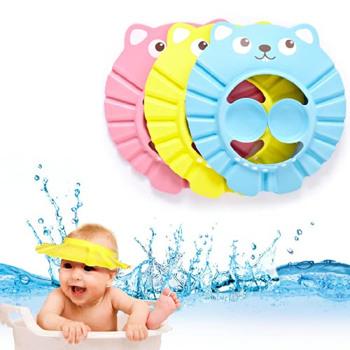 2 Pack Baby Shower Cap Adjustable Baby Bathing Shampoo Hat Wash Hair Shield Hat with Ear Protection for Toddler Baby Kids Children